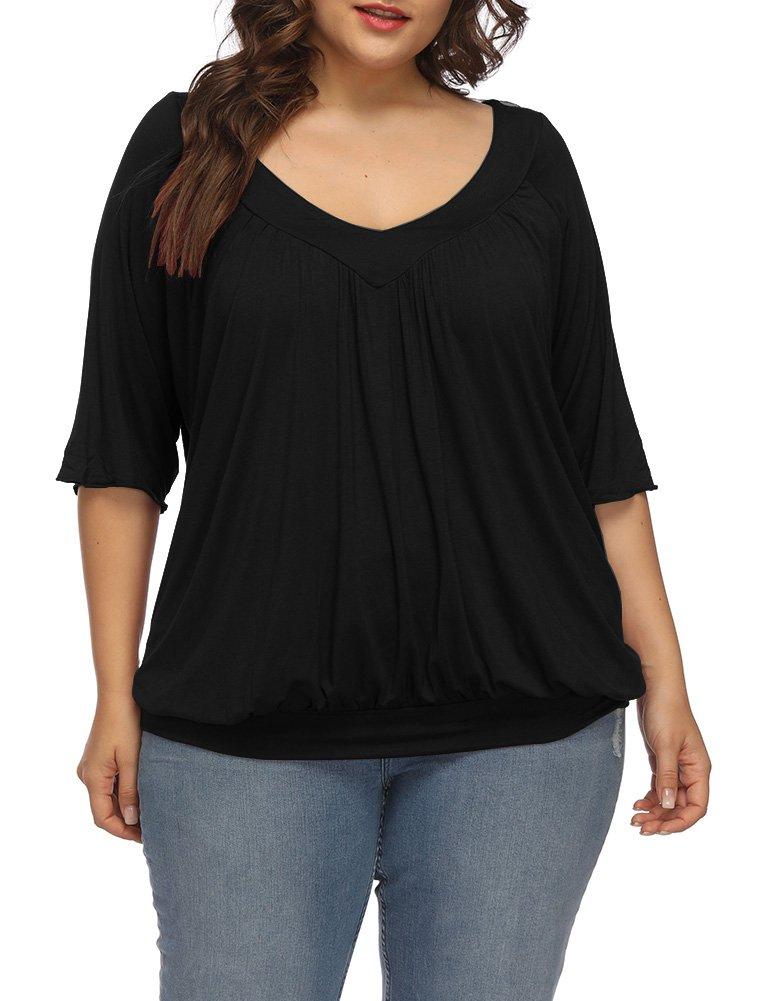 Allegrace Women's Plus Size Summer Pleated Top Half Sleeve Elastic Hem V Neck T Shirts Black 2X