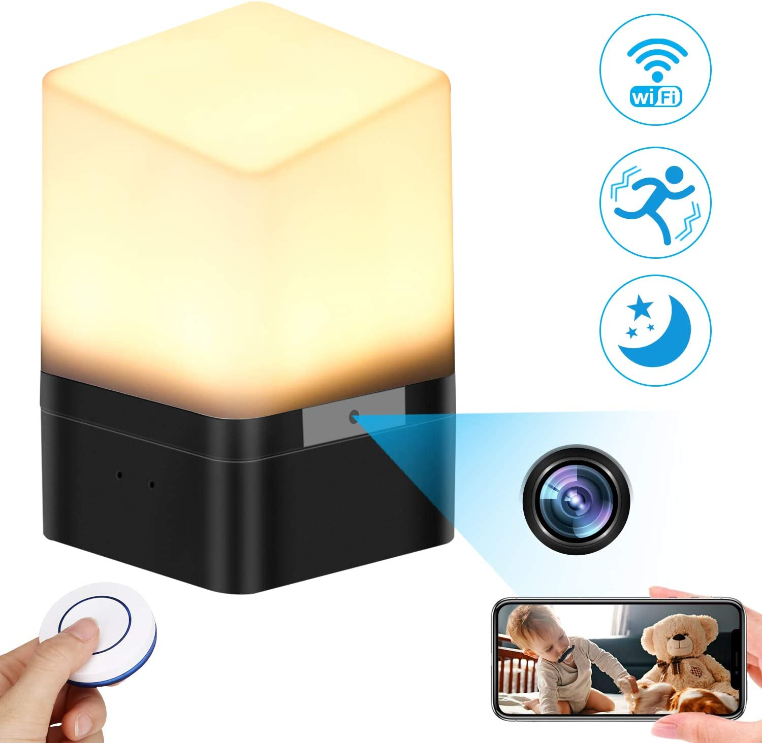 Spy Camera Lamp, KAUPOONK Hidden Camera FHD 1080P WiFi Security Camera Micro Motion Detection Surveillance Cam Indoor USB Chargeable Lamp Video Recorder for Home Employees Car Office Kids Nursery