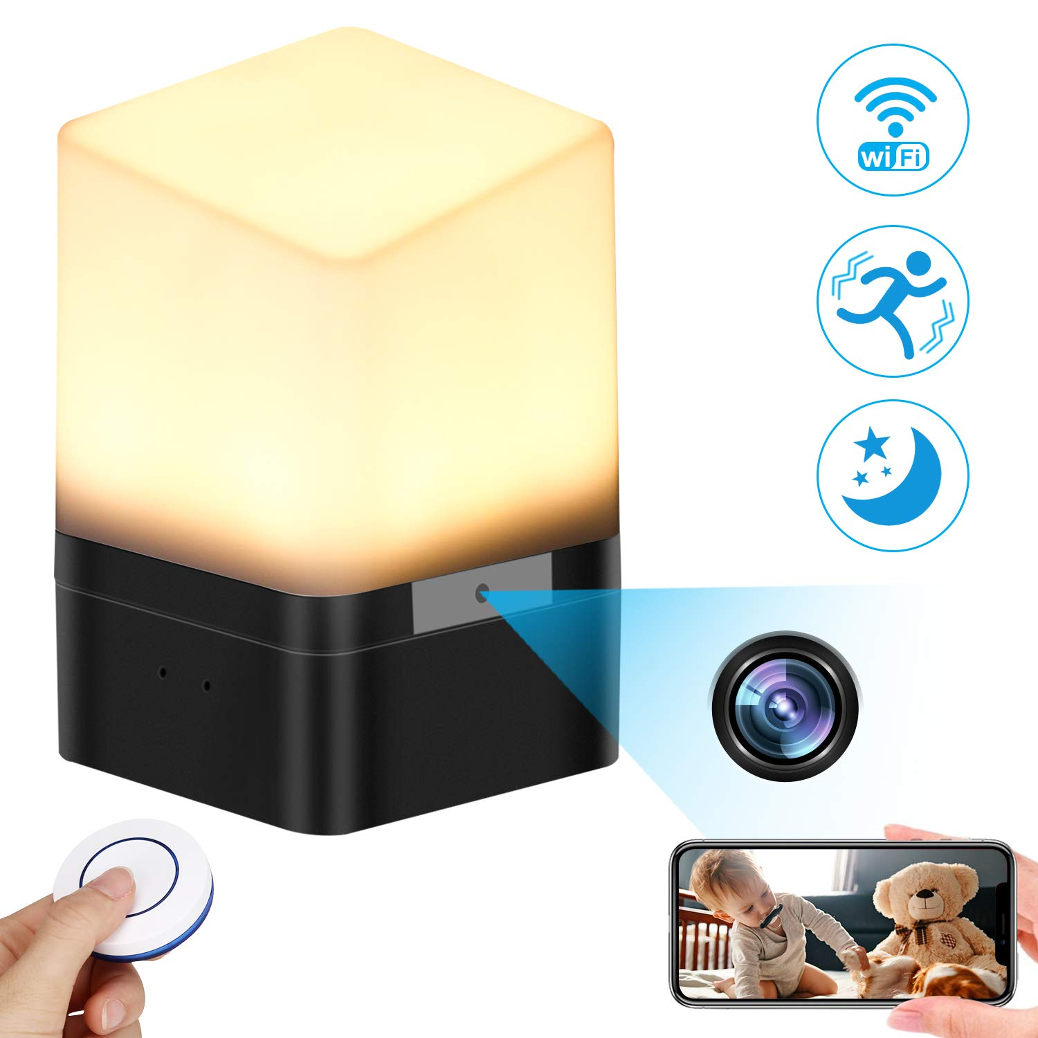 Spy Camera Lamp, KAUPOONK Hidden Camera FHD 1080P WiFi Security Camera Micro Motion Detection Surveillance Cam Indoor USB Chargeable Lamp Video Recorder for Home Employees Car Office Kids Nursery by KAUPOONK