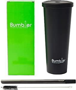 Stainless Steel Bumbler - 24 oz Reusable Eco-Travel Double Walled Vacuum Sealed Tumbler with Wide Duo Material Metal Straw - Keep Cool or Warm Drink- Coffee, Boba/Bubble Tea, Water, Smoothies- Black