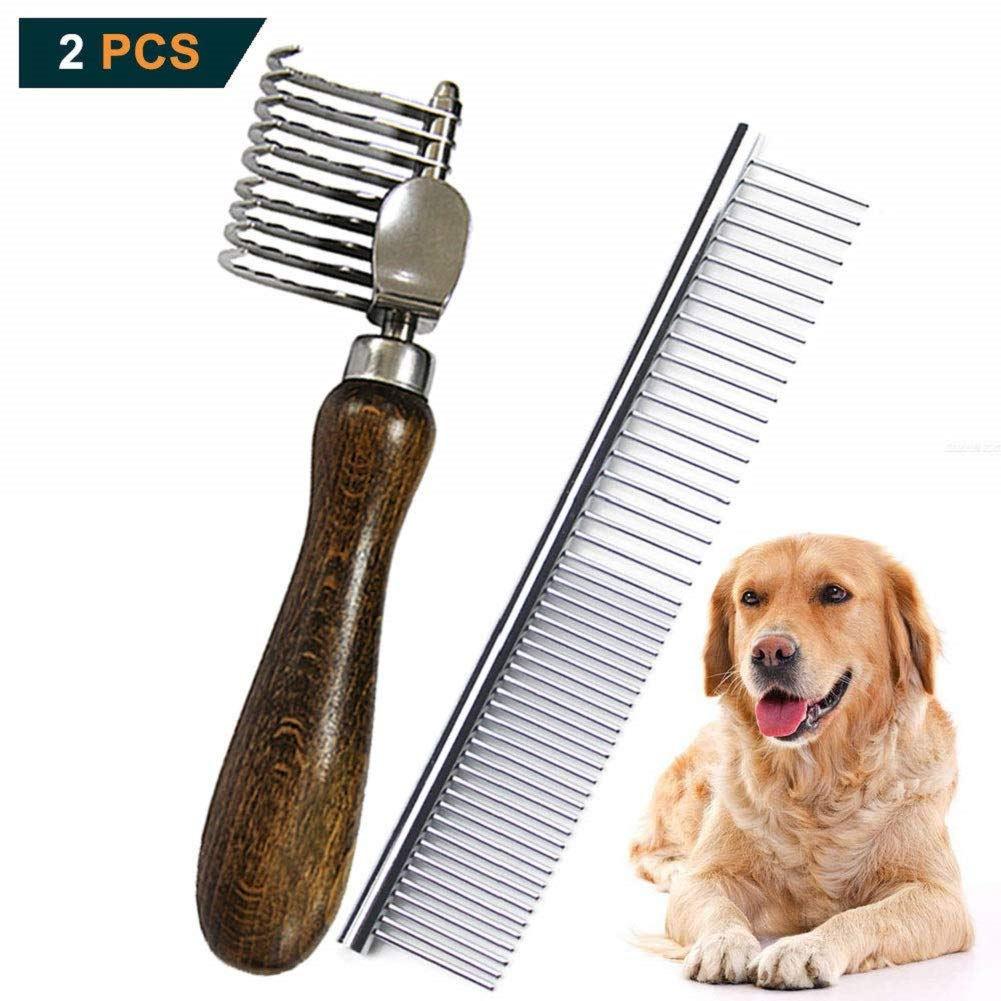 MEIBAI Pet Dematting Fur Rake Comb Brush Tool, Safe Grooming Accessories for Dogs, Longhaired Cats, Rabbits, Horses