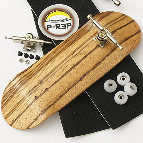 Peoples Republic Zebra 32mm n.EXT Complete Wooden Fingerboard w CNC Lathed Bearing Wheels