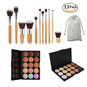 CINEEN 15 Color Concealer Palette + 11pcs Pro Bamboo Makeup Brushes Set - Ultra Face Contouring and Highlighter Make up Kit with Professional 11pcs Bamboo Brushes
