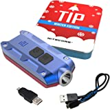 Nitecore TIP 360 Lumens USB Rechargeable Keychain Flashlight - Red and Blue Winter Edition Holiday Gift Pack with LumenTac USB Charging Cable (Red-Blue)