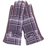 ScarvesMe Ribbon Accent Plaid Checker Gloves (Lavender)