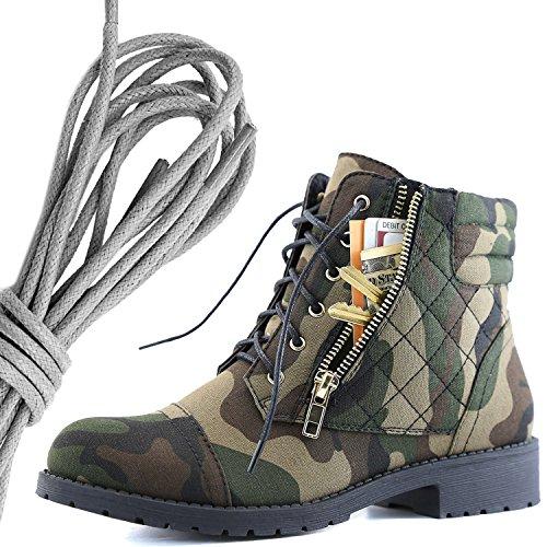 Dailyshoes Kvinna Militär Snörning Spänne Bekämpa Stövlar Fotled Hög Exklusiva Kreditkortsficka, Grå Kamouflage Cv