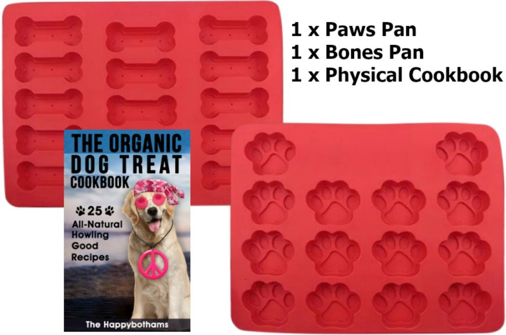 Dog Paw and Bone Mold and Recipe Gift Set Food Grade Silicone Baking Molds For Puppy Snacks Physical Cookbook With 25 Organic Recipes For Homemade Dog Treats