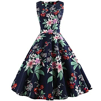 Womens Vintage Dress Promotion!Rakkiss Printing Bodycon Sleeveless Halter Evening Party Prom Swing Dress