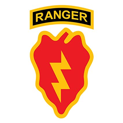 US Army - 25th Infantry Division SSI With Ranger Tab Decal - Five Inch Tall  Full Color Decal - Sticker