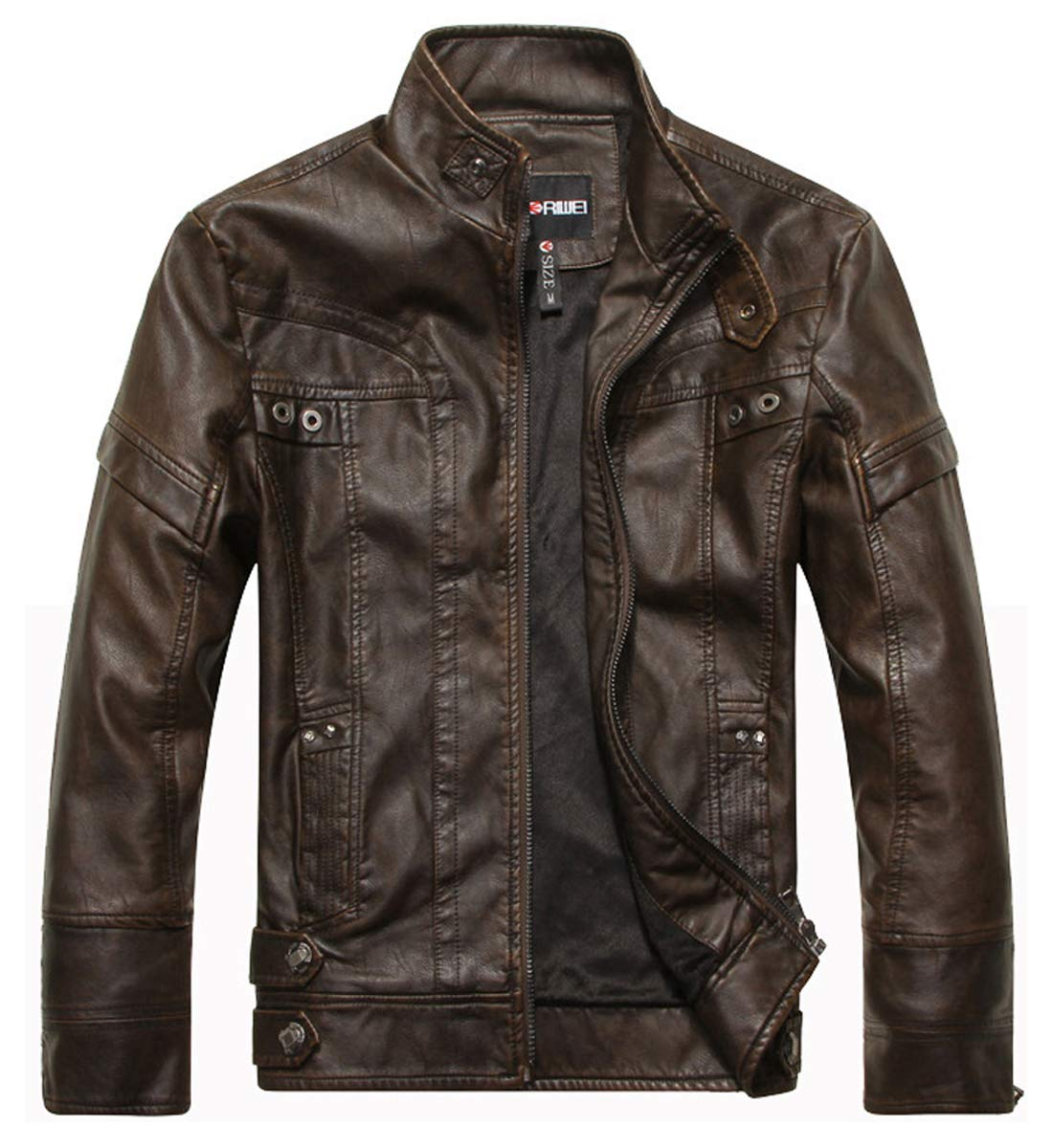 WULFUL Men's Vintage Stand Collar Leather Jacket Motorcycle PU Jacket and Coat by WULFUL