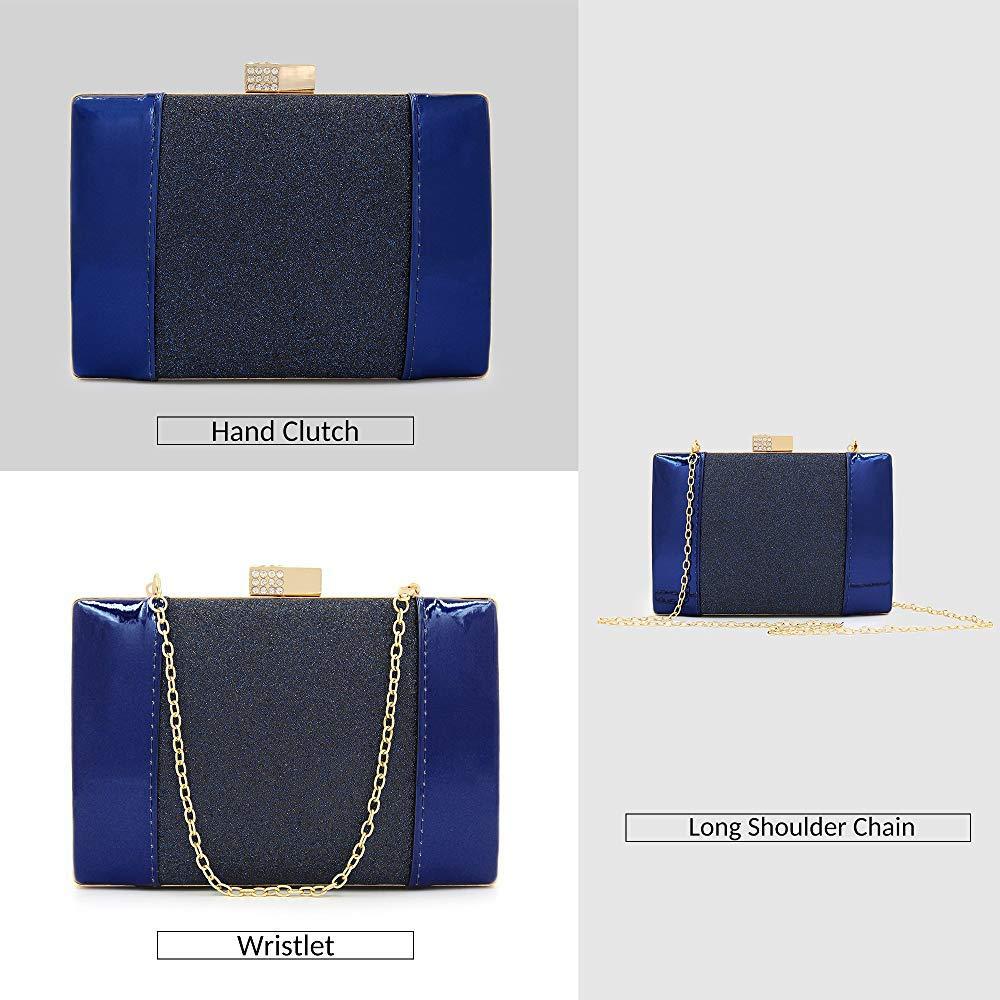 Color : Black Superw Super Flash PU Rhinestone Bag Women Clutches Glitter Clutch Purses Crystal Patent Leather Evening Bags