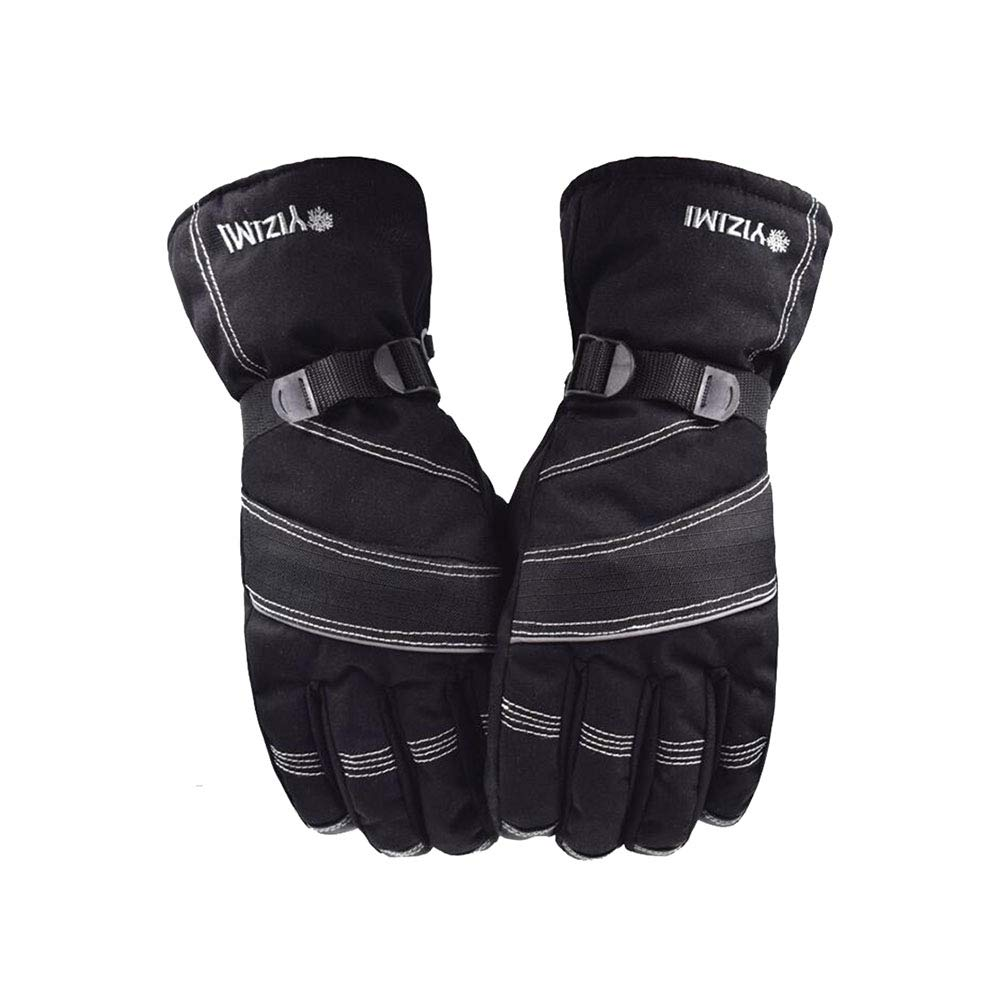 Dall Gloves Gloves Mittens Mens Ski Gloves Warm Winter Cold Proof Elastic Cuff (Color : Black)