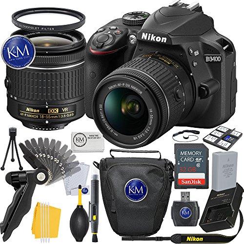 Nikon D3400 DSLR Camera (Black) w/ 18-55mm Lens + 32GB Card + Basic Photo Bundle by K&M