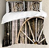 Ambesonne Barn Wood Wagon Wheel Duvet Cover Set King Size, Wooden Barn Door and Vintage Rusty Wheel Rustic Home Farm, Decorative 3 Piece Bedding Set with 2 Pillow Shams, Black Light Brown