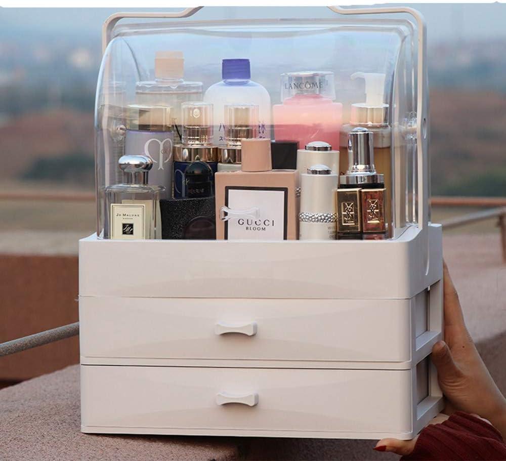 Cápsula espacial caja de almacenamiento de cosméticos escritorio a prueba de polvo, hogar, máscara de pintalabios, tocador grande, productos para el cuidado de la piel, estante, blanco: Amazon.es: Belleza