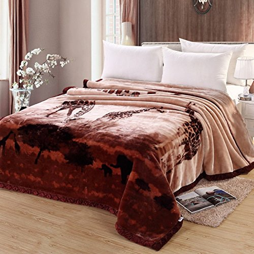 Znzbzt Wedding red blanket thick-pile carpet in winter cover wedding celebration red double blanket ,180X220-6 catty, maroon giraffe by Znzbzt
