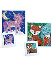 MWOOT 2 Pack 5D Diamond Painting by Number Kit for Children,DIY Full Drill Diamond Dots Cross Stitch Beginners Art Crafts Kits,Kids Gift for Home Wall Decor 12x12CM (Fox + Unicorn)