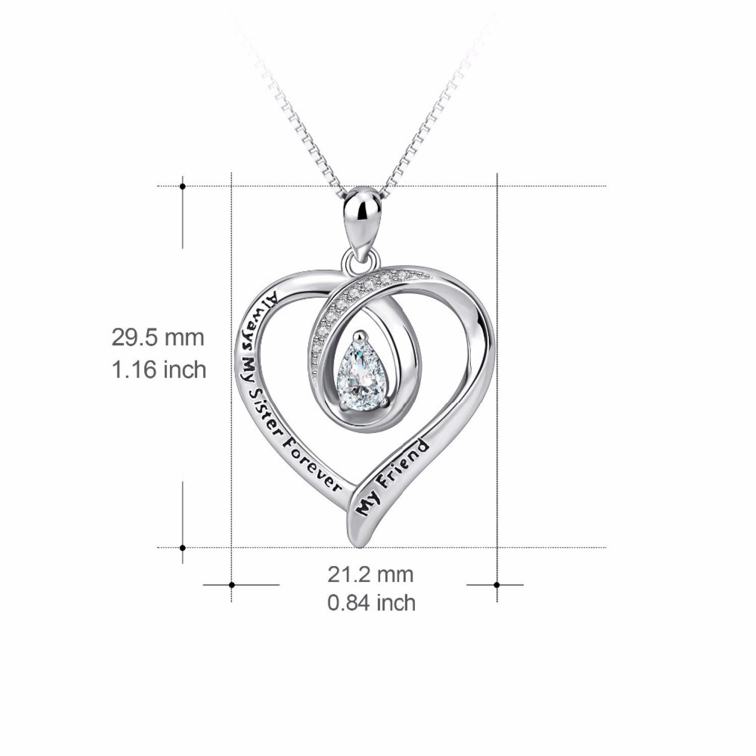 CS-DB Womens Necklaces by Silver Pendant Always My Sister Forever My Friend CZ Crystal Love Heart Message Charm Girls