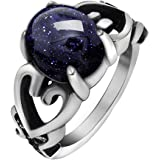 FANSING Jewelry Stainless Steel Heart Rings with Stone for Mens and Womens