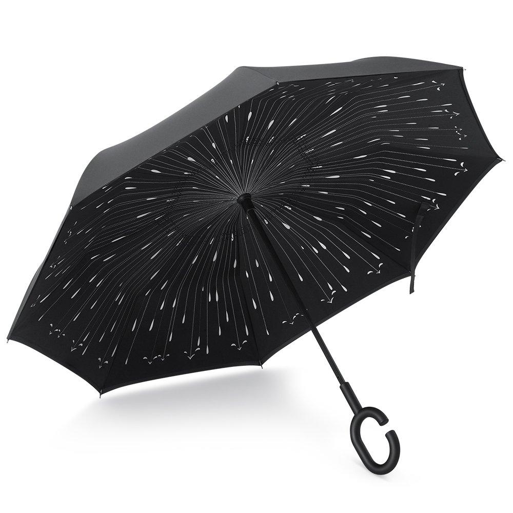 PLEMO Parapluie Canne, Parapluie Inversé, Double Couche Coupe-Vent, Mains Libres poignée en forme C, Idéal pour Voiture et Voyage, Noir Motif de Gouttes de Pluie UA_35