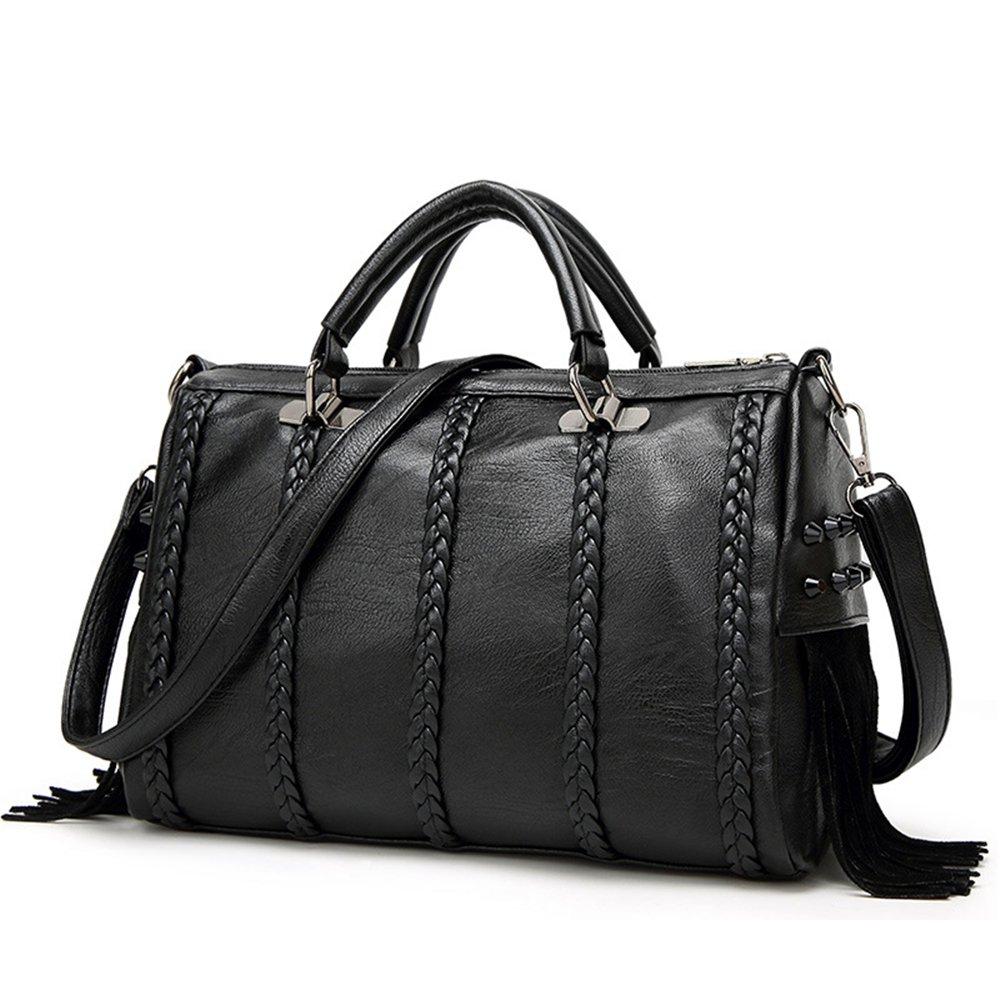 Mn&Sue Braided Rivet Studded Fringe Tassel Doctor Style Women Handbags Top Handle Satchel Punk Crossbody Purse Barrel Bag