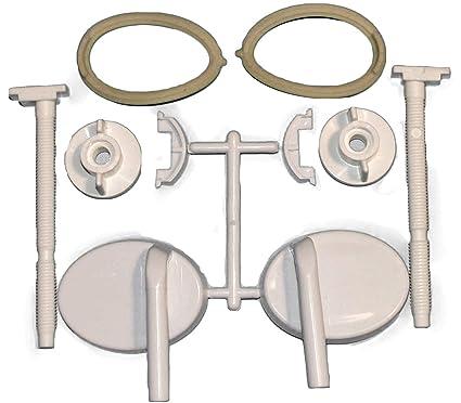 2 Toilet Seat White Hinges A8 Full Set Easy Fitting Bath Bathroom Repair Kit by Toilet Hinges//Screws