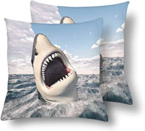 SPXUBZ Great White Shark Pillow Cover Home Decor Nice Gift Square Indoor Pillowcase Set of 2 (Two Sides)