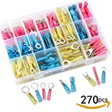 steam resistant adhesive - Sopoby 270pcs Heat Shrink Wire Connector Set, Insulated Waterproof Electrical Crimp Terminals, Marine Automotive Spade Ring Terminals Kit with Case