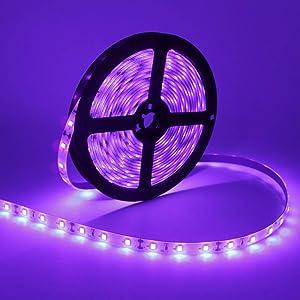 24W LED UV Black Light Strip Kit, Ultraviolet Waterproof IP65 16.4FT/5M 3528 300LEDs, 395nm-405nm Blacklight for DJ Bar Club Party Decor Night Fishing with 12V 2A Power Supply