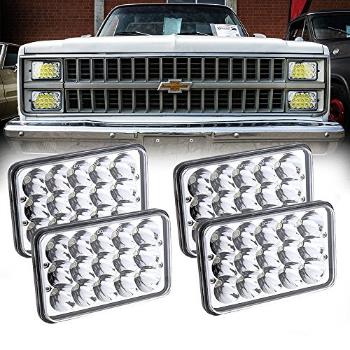 Headlight Led Replacement (Dot Approved 60W Philips Chips 4x6 inch LED Headlight Rectangular Replacement H4651 H4652 H4656 H4666 H6545 for Peterbil Kenworth Freightinger Ford Probe Chevrolet Oldsmobile Cutlass 4Pcs)