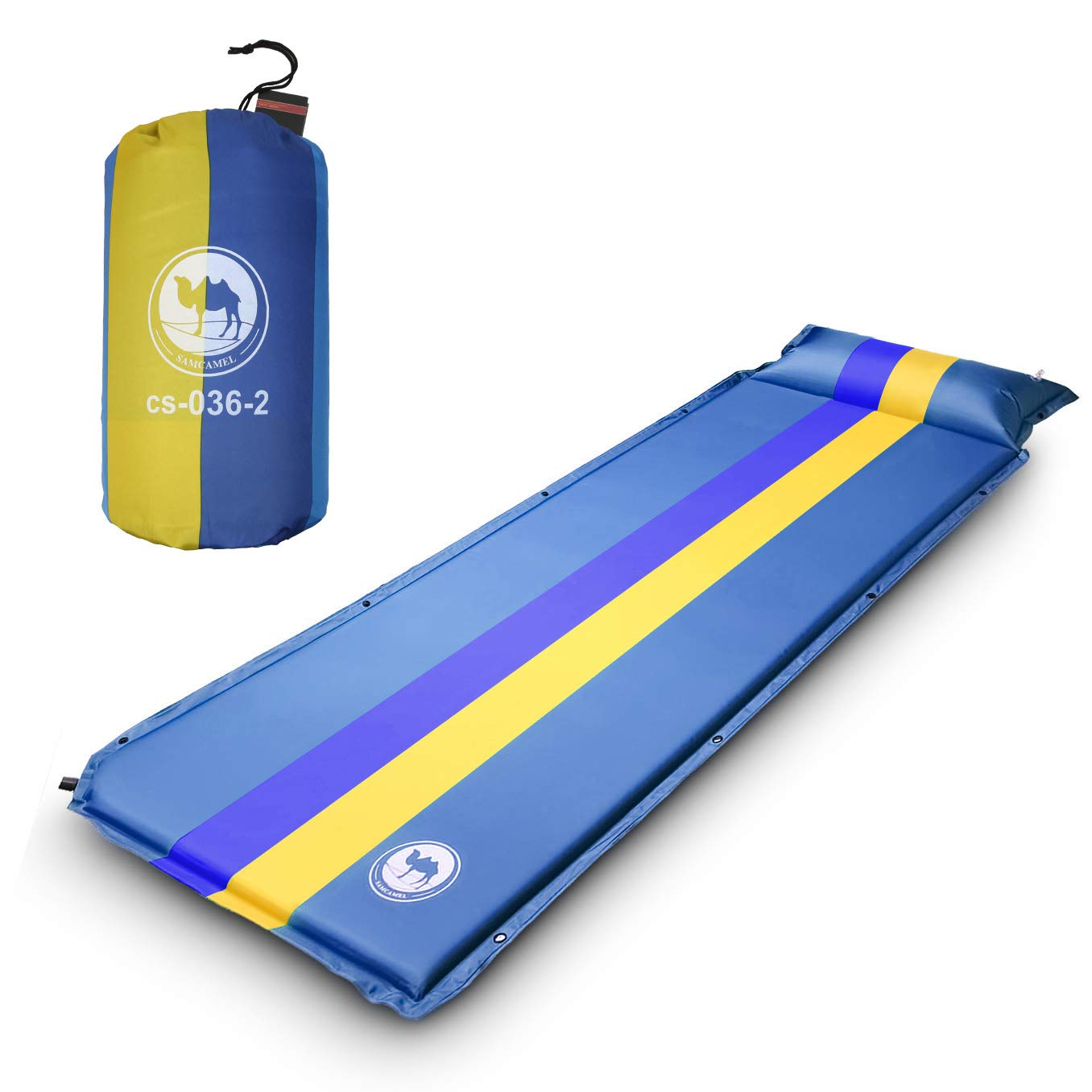 EKKONG Esterillas Autoinflables, Colchoneta de Camping con Bolsa, para Camping, Viajes, Senderismo, Mochilero, Playa, 190 x 68 x 3.5 cm