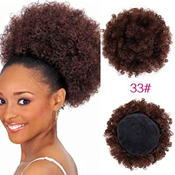 Bright High Puff Afro Kinky Curly Wig Ponytail Drawstring Short Afro Kinky Pony Tail Clip In Afro Kinky Curly Ponytail For Women Hair Extensions & Wigs