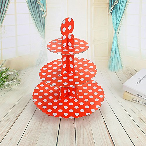 3-tier Cardboard Party Cupcake Display Stand/ Dessert Stand/ Tea Party Pastry Serving Platter/ Food Display Stand-Big red dot -