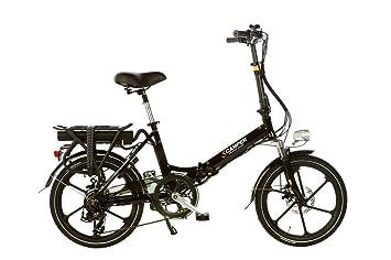 Eléctrico bicicleta plegable shinga Scamper con estrella ruedas – Negro – 20 pulgadas