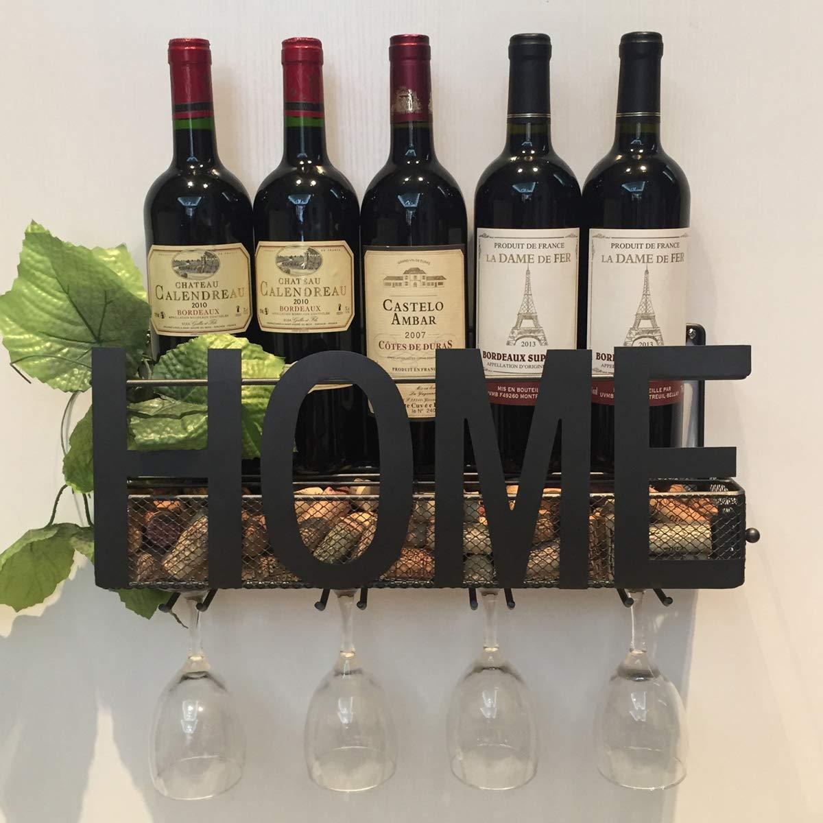 Wall Mounted Metal Wine Rack 4 Long Stem Glass holder /& Wine Cork Storage By Soduku