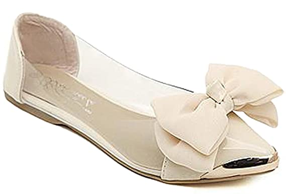 Minetom Damen Mädchen Transparente Folie Schuhe Süßen Stil Spitz Zehe Schuhe Mit Bowknot Rosa 38 IdHLOb