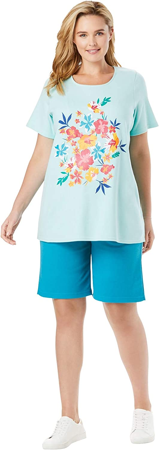 Woman Within Womens Plus Size 2-Piece Knit Tee and Short Set