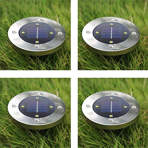 Solar Pathway Light, Round Shape Waterproof Uplighting For Outdoor Landscape Garden Patio Path Way Yard Driveway Walkway Lawn, Warm 4PACK