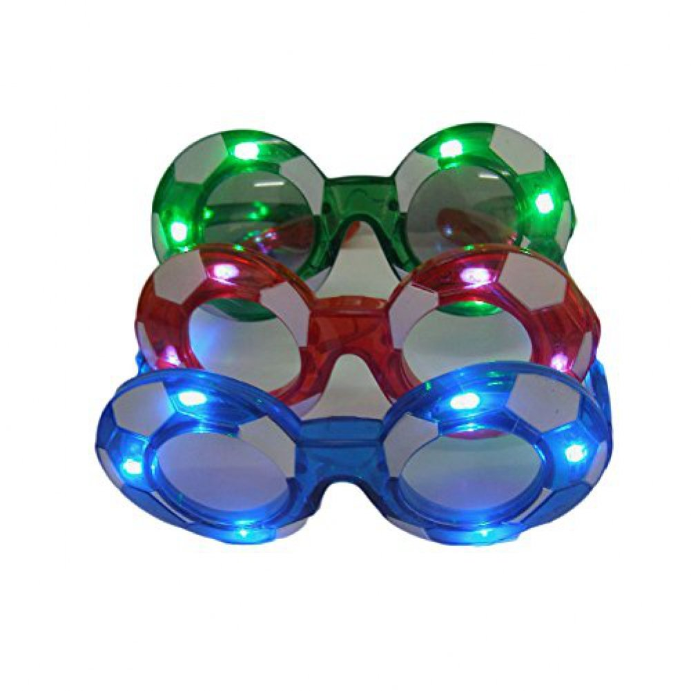 12 Pairs of LED Flashing Light Up Party Soccer Glasses By Mammoth Sales Mixed