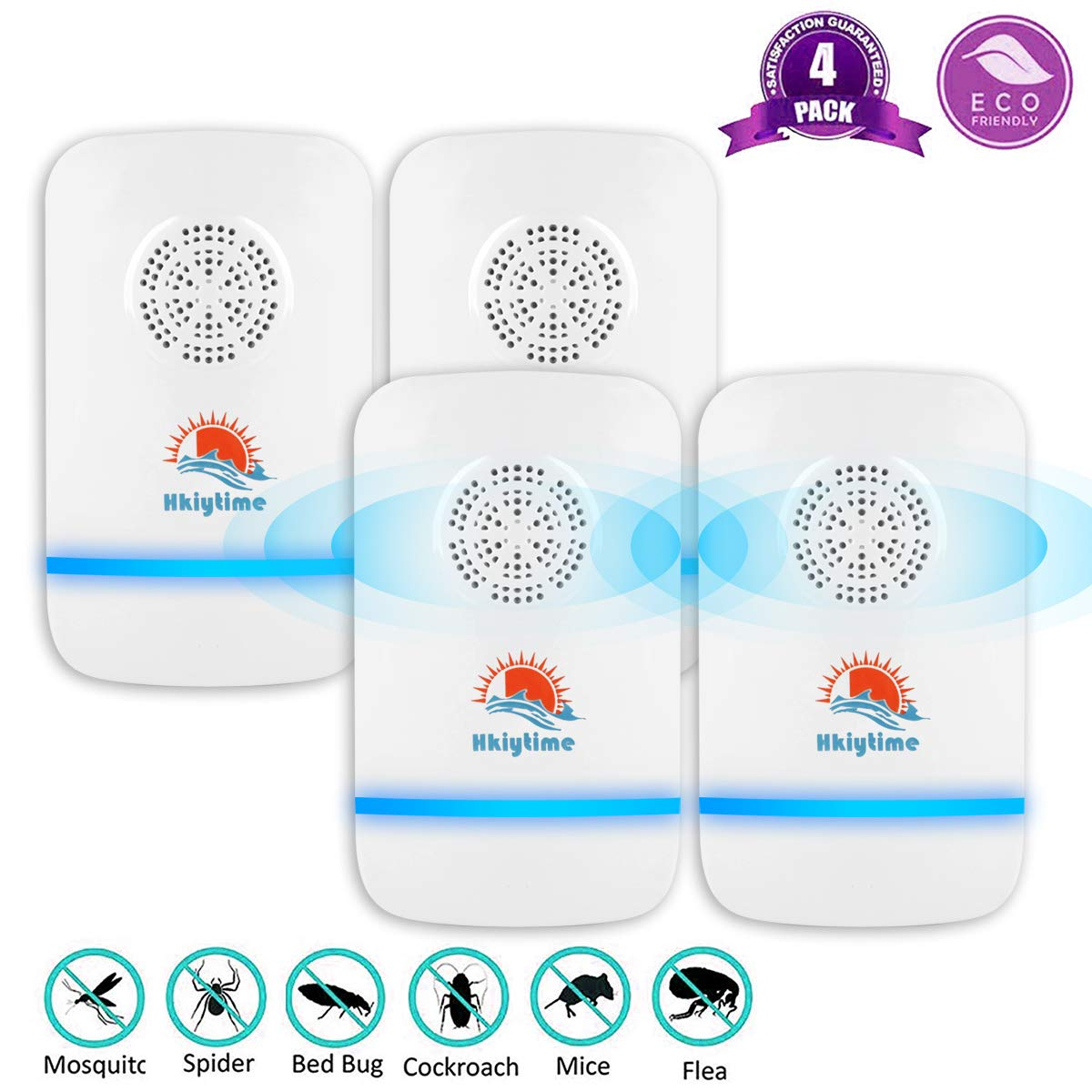 Ants Spiders Fleas Cockroach Flies Rodents Plug in Insect Repeller,2 Pack Ultrasonic Pest Control Repellent against Mosquito Hkiytime Ultrasonic Pest Repeller Mice