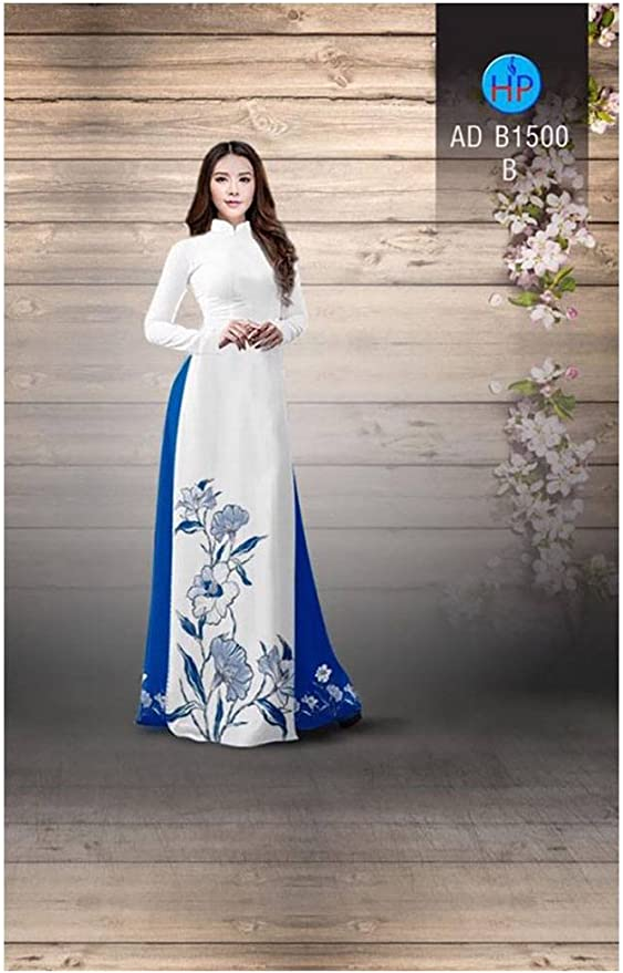All Size Traditional Vietnamese Long Dress Collections with Pants Silk 3D ADVN00256 Ao Dai