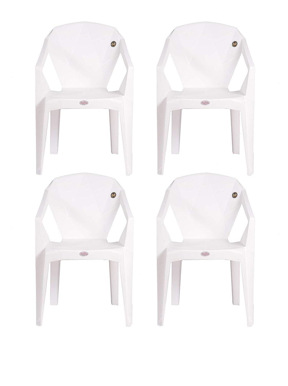 Petals Nakshatra Arm Chair (White, Set of 4)