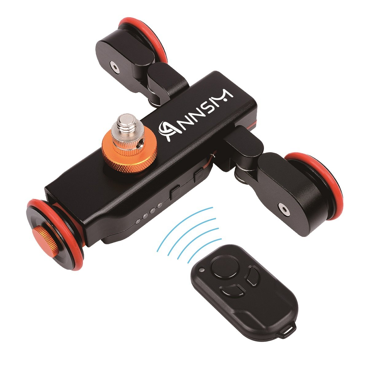 Annsm Pro 3-Wheels Wireless Pure Metal Camera Auto Motorized Dolly Track Slider Portable Table Top for DSLR Camcorders Gopro iPhone or Smartphones with 3 Speeds with Remote Controller Black by ANNSM