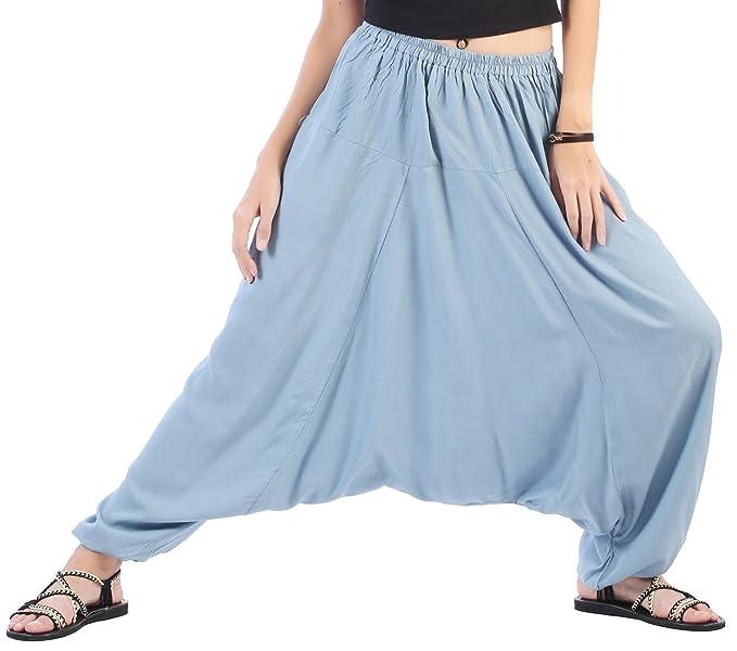 ea652aac921 CandyHusky Men Women Summer Aladdin Hippie Boho Harem Pants Costume One Size  (Blue-Grey