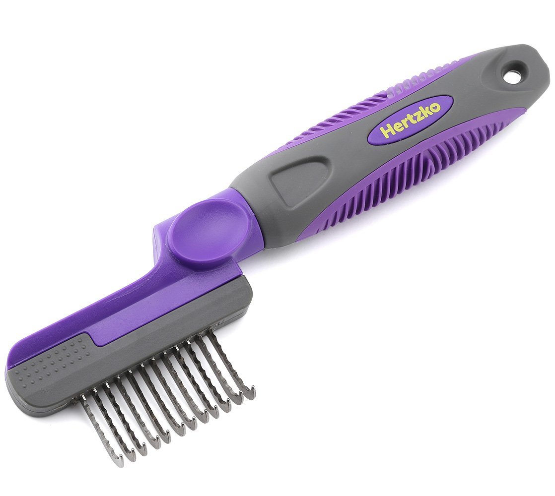 Hertzko Rounded Blade Dematting Comb By Round Long Blades with Safety Edges - Great for Cutting and Removing Dead, Matted or Knotted Hair