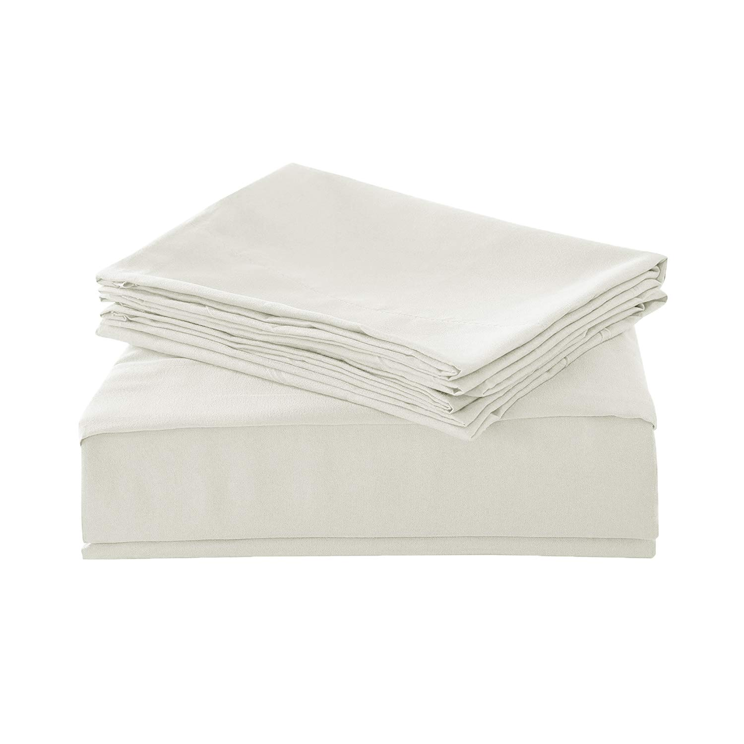 HollyHOME 1500 Soft Hypoallergenic Brushed Microfiber Bed Sheet Set, 4 Pieces Full Size Sheets, Ivory