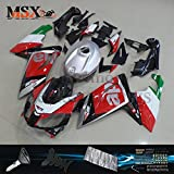 MSXmoto Fairing Kits Fit for Aprilia RS125 RS4 125R 2006 2007 2008 2009 2010 2011 Motorcycle Fairing Kit Plastic ABS Plastic Injection Molding Kit Complete Bodywork Painted(Red&Black)