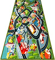 Kids Carpet Playmat Rug - Fun Carpet City Map for Hot Wheels Track Racing and Toys - Floor Mats for Cars for T