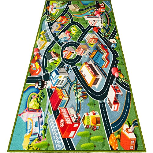 Kids Carpet Playmat Rug – Fun Carpet City Map for Hot Wheels Track Racing and Toys – Floor Mats for Cars for Toddler Boys -Bedroom, Playroom, Living Room Game Play Mat for Little Children – 60″ x 32″
