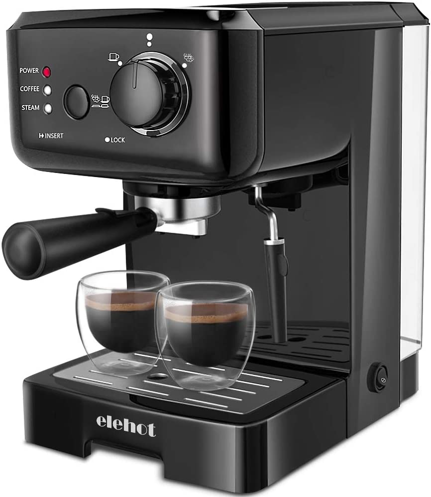 ELEHOT Espresso Machine Coffee Makers with 15 Bar Pump and Milk Frother Black